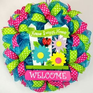 Spring Summer Home Sweet Home Welcome Wreath